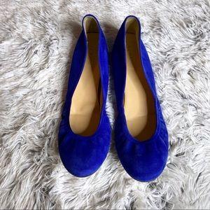 J. Crew Bright Blue Anya Suede Ballet Flats 10M